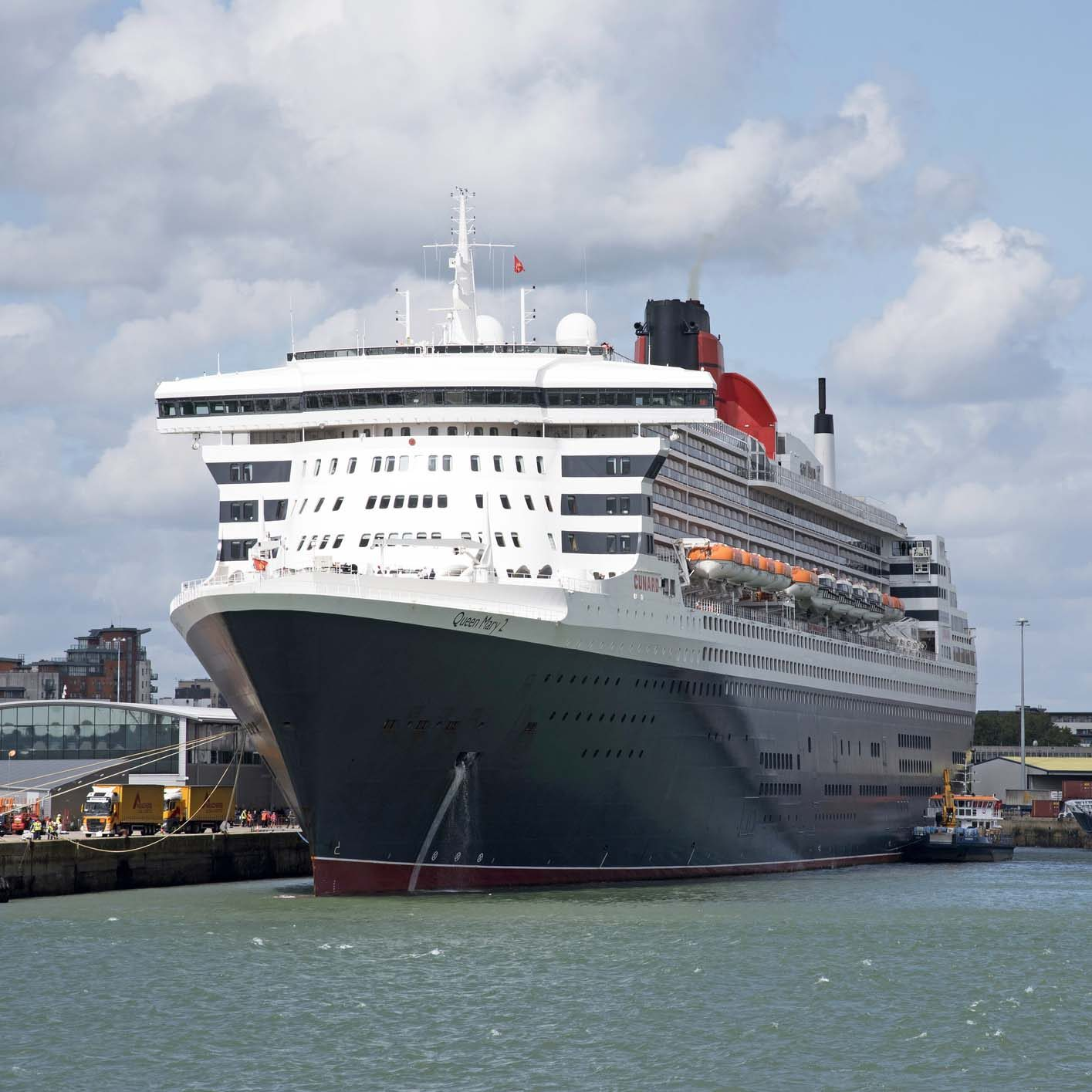 Queen Mary 2 cruise liner alongside her berth in the Port of Southampton England UK August 2017